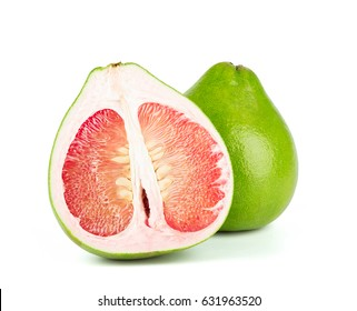 close-up view of Thailand Siam ruby pomelo fruit on white background.
