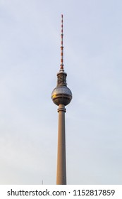 Closeup view of the TV tower at Alexander square in Berlin, Germany