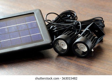 Close-up View of Two Mini Garden Light and Its Solar Panel
