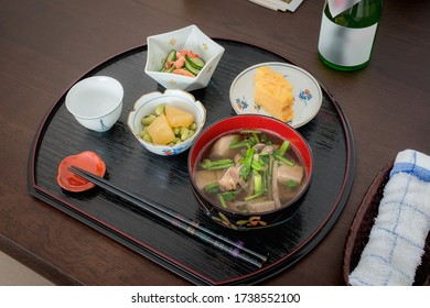 "Close-up view of typical local dish of new year in Japan, the Yamagata ""Ozouni"", it's the new year's ceremonial meal."