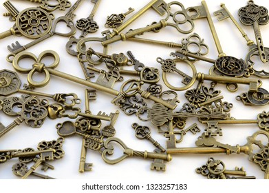 Closeup view of a variety lot of brass keys used for decorative purposes.