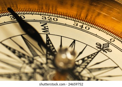 Close-up view of the vintage compass.
