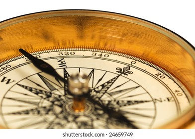 Close-up view of the vintage compass on a white background.