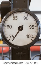 Close-up view of vintage old vacuum gauge.