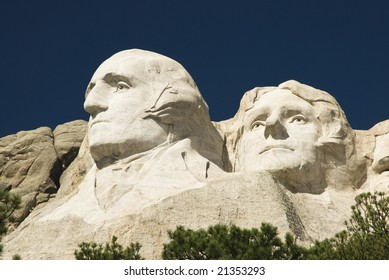 closeup view of Washington & Jefferson on Mount Rushmore National Monument in the Black Hills of South Dakota.