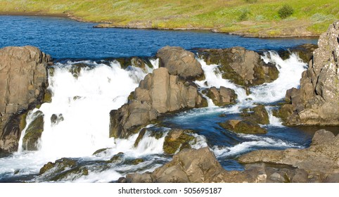 Close-up view of a water fall in Iceland