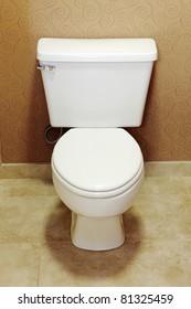 Closeup view of a  white toilet