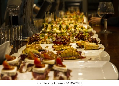 close-up view of wide variety of Tapas in restaurant at spain