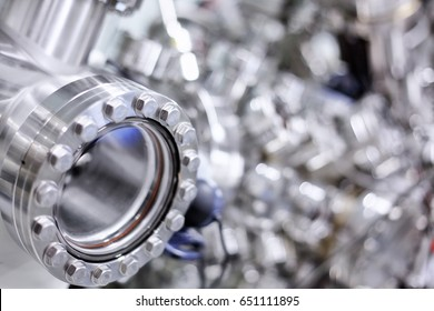 Close-up view of a window of an ultra-high vacuum chamber of a high performance X-ray photoelectron spectrometer for photoelectron spectroscopy (XPS) and parallel imaging (imaging XPS)