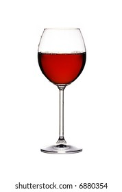 Close-up view of wineglass on white background