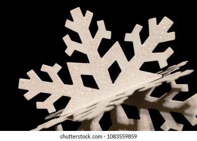 Closeup view of a winters snowflake decorative ornament.
