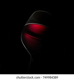 closeup vine glass on a black