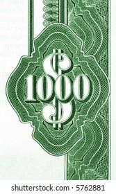 Close-up of vintage American bond document. 1000 dollars.