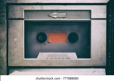 Close-up Vintage Cassette Tape Player.