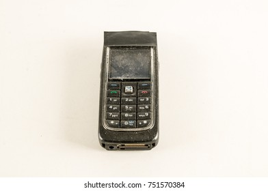 Close-up of vintage cellphone Object on a White Background