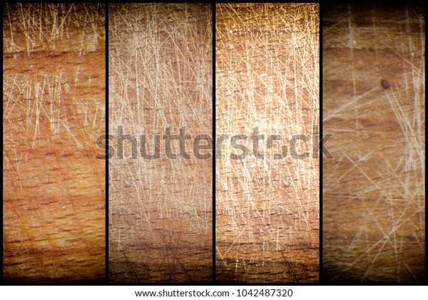 Close-up vintage empty cutting board on bamboo planks, food background concept.