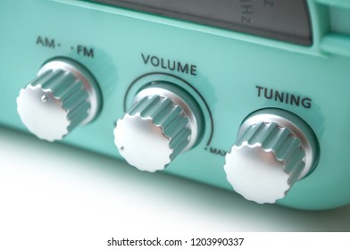 closeup of vintage fifties style radio buttons on white background