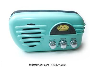 closeup of vintage fifties style radio on white background
