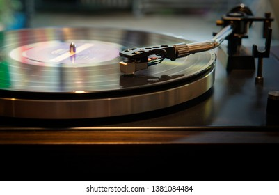 Close-up, vintage record player, While playing the record, Black platter