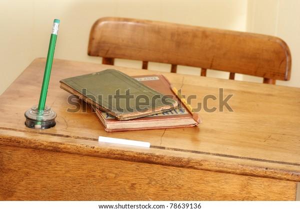 Closeup Vintage School Desk Chair Against Stock Photo Edit Now