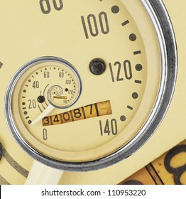Close-up of vintage speedometer