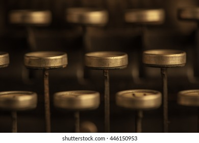Closeup of vintage typewriter keys in detail