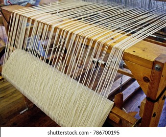 Close-up of a vintage weaving loom in Old New Mexico.