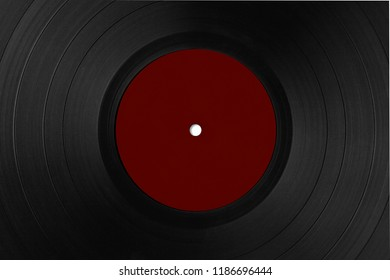 Closeup of vinyl long play record with label with copy space