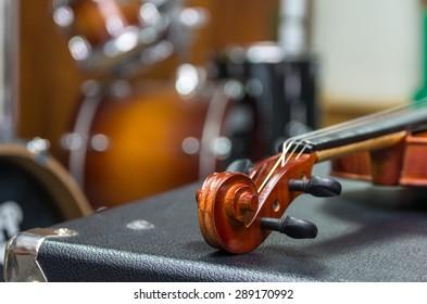 Closeup Violin orchestra musical instruments