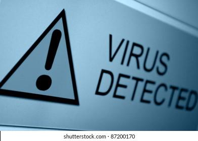 Closeup of Virus Detected Sign on LCD Screen