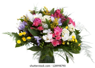 Close-up of vivid bouquet at hand isolated on white