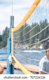 Close-up of the volleyball net