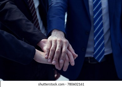 Closeup of a volunteer's hand. Multicultural Collaboration, Collaborative Business Group Collaboration Expresses Confidence in Meetings, Mergers, Expansion, Business Partners Team or Friendship Concep