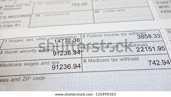w2 form deductions  Closeup W17 Form Showing Social Security Stock Photo (Edit ...