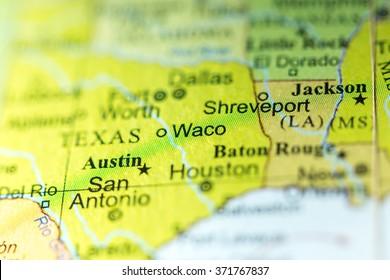 Closeup of Waco, Texas on a political map of USA.