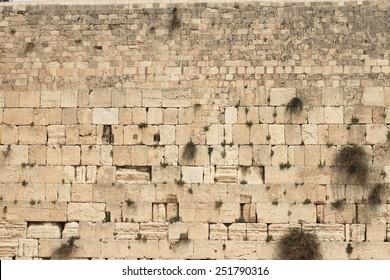 Closeup of wailing wall in Jerusalem city
