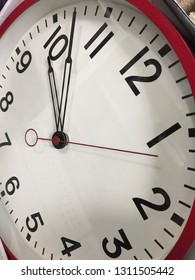 close-up of wall clock at forced angle