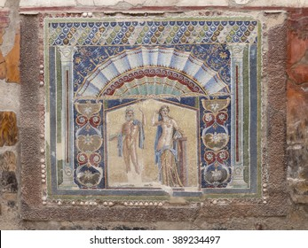 Closeup of wall mosaic in a Roman villa of Herculaneum