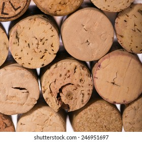 Closeup of a wall of used wine corks.