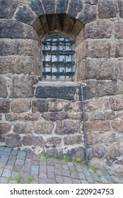 Closeup of a wall with window in Vyborg castle, North Western Russia