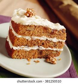 Close-up of Walnut Carrot Cake.