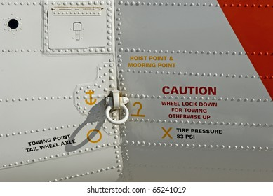 Closeup of warnings and connections on a rescue aircraft