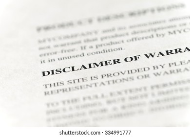 close-up of warranty disclaimer