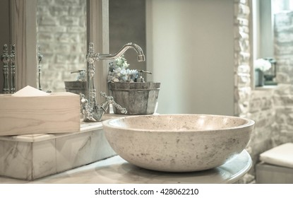 Close-up of washbasins in public toilet room,vintage effect style pictures
