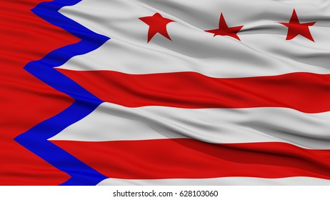 Closeup of Washington City Flag, Waving in the Wind, Maine State, United States of America