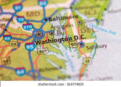 Closeup of Washington DC on a geographical map.