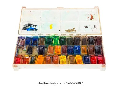 Close-up of watercolor paint box isolated on white