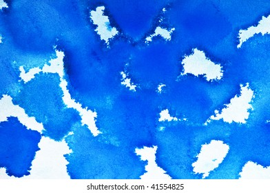 closeup of a watercolor wash done in blue