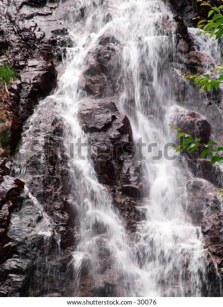 Closeup of a waterfall in Canada.