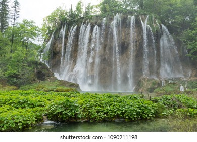 Closeup of a waterfall in Plitvice Lakes National Park in Croatia